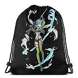 354 Drawstring Backpack Sword Art Online Asada Shino Mochila Ligera con Estampado De Viaje para Hombres Almacenamiento Goodie Casual Cinch Bags Mochila con Cordón Deporte Mujer Durable