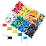 Qinlee 160 Pièces 8 couleurs Office Punaise Drapeau Épingles Murales Boîtier de Rangement...