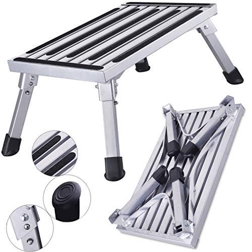 HDM 47x30x23cm Aluminium Klapptritt Trittleiter 1 stufe Arbeitsplattform Max Belastung 150 kg für Küche,Bad,Camping und mehr, faltbar Hocker Leiter mit Anti-rutsch Matte
