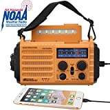 Solar Hand Crank Portable NOAA Weather Radio, 5-Way Powered AM/FM/SW Emergency Radio for Household and Outdoor with 2000mAh Battery Power Bank,USB Charger,LED Flashlight,Reading Lamp,SOS Alarm&Compass