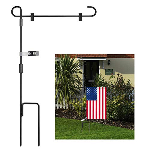 Garsum Garden Flag Stand Banner Flagpole Iron Stand-Holder-Pole Holds Flags up to 12.5' in Width for Outdoor Lawn