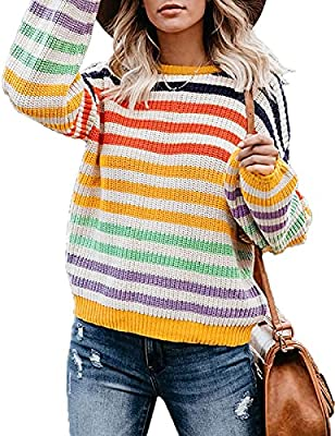 SIZE ATTENTION:S= US 4-6,M=US 8-10,L=US 12-14,XL=US 16-18,XXL=US 20-22;Throw it back in our Colorful Striped Knit Sweater! This is so fab for the season, your wardrobe definitely needs this! On trend and so retro, dolls! Relaxed Fit,Soft & Stretchy;I...