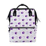 Backpack Purple Paw Prints Mens Laptop Backpacks Shoulder Hiking Daypack