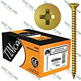 Timco Solo Yellow WOODSCREW POZI COUNTERSUNK SOLOC ~ Packs of 200 or 1000 ~ Screws 4, 4.5, 5, 6 mm (200, 4.0 x 40mm)