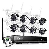 ZOSI 1080P 8CH P2P H.265+ NVR 1TB HDD 8pcs Caméra Surveillance WiFi HD 2MP Détection de Mouvement et Alerte par Email - Système Surveillance Extérieure pour la Maison et l'Entreprise