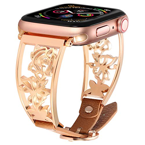 VIGOSS Bracelet Compatible with 44mm Apple Watch Bands 44mm/42mm Women Rose Gold Luxury Stainless Steel Jewelry Bangle with Brown Leather Replacement for iWatch Series 5 4 3 2 1 Sport