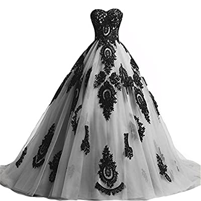 Sweetheart strapless long vintage black lace gorgeous corset back forml women dresses ball gown style. Please use a soft tape to measure yourself and check size chart, keep tape loose. Tulle fabric outside with black lace sewed, inside is satin and l...