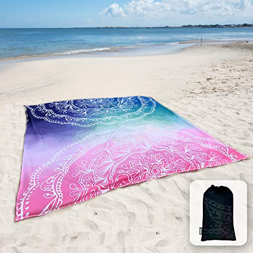Sunlit Silky Soft Boho Sand Proof Beach Blanket Sand Proof Mat with Corner Pockets and Mesh Bag 6' x 7' for Beach Party, Travel, Camping and Outdoor Music Festival,Blue and Pink Mandala