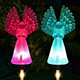 Solar Lights Outdoor - Kearui 2 Pack Solar Stake Light with Fiber Optic Angel Decorative Lights, Multi-Color Changing LED Solar Lights for Yard Decorations, Garden Gifts
