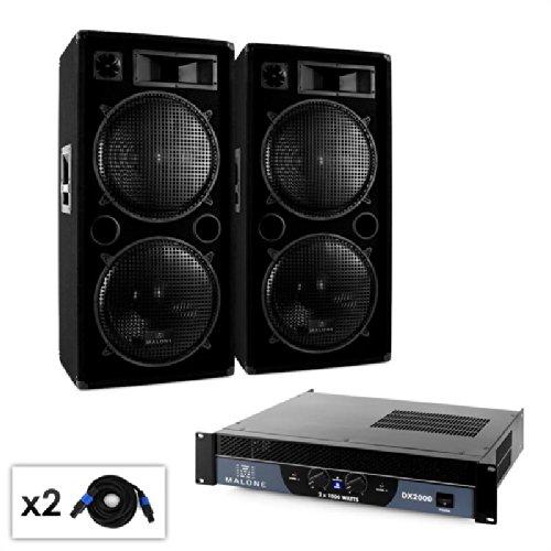 DJ PA Set Malone 2.0 'Bass' ampli enceintes cbles 2000W