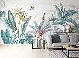 SILK ROAD EU Papier Peint Panoramique jungle Soie, 350 x 255 cm Plantes tropicales Poster Geant Mural Personnalisé 3D pour Salon Chambre