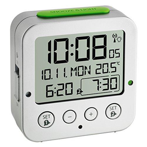 TFA Dostmann Bingo Funk Wekker   6-talige taalkeuze   Toenemend alarmsignaal   Snooze/Light knop   2 Wekalarmen   Geeft de binnentemperatuur aan