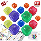 21 Day Fix Containers and Food Plan - Portion Control Container Kit for Weight Loss - Beachbody Portion Containers with Recipe - Double Set (14-Pieces)