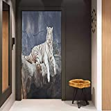 Onefzc Sticker for Door Decoration Tiger Albino Cat Sitting on Rock Sublime Nature Marvelous Animals Endangered Species Door Mural Free Sticker W38.5 x H77 Slate Blue White