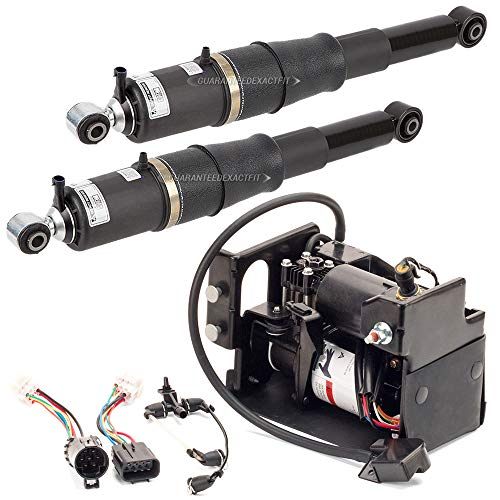 Pair Autoride Rear Air Shock Absorber w/Compressor Set For Chevy Tahoe Suburban Avalanche GMC Yukon Cadillac Escalade - BuyAutoParts 75-85157AA New