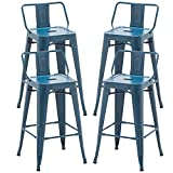Alunaune 26' Metal Bar Stools Set of 4 Counter Height Barstools Industrial Counter Stool Kitchen Bar Chairs Indoor Outdoor-Low Back, Distressed Navy