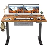 FEZIBO Electric Height Adjustable Standing Desk with Drawer, 48 x 24 Inches Splice Board, Black Frame/Rustic Brown Top