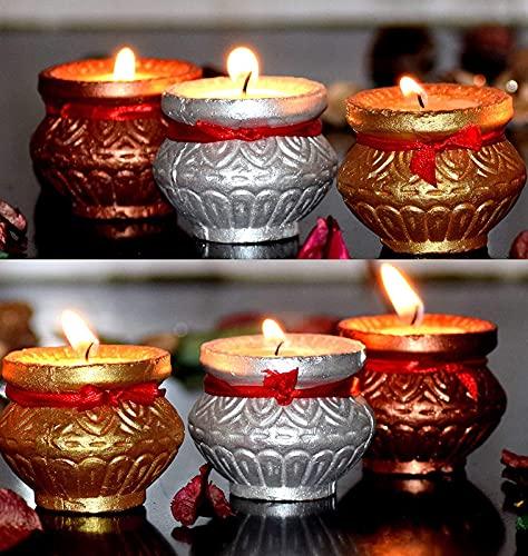 MITHILA-Wax-Filled-Handmade-Diyas--Matki-Diya--Terracotta-Diya--Diwali-Diya--Tealight-Diya--Diya-Batti--Candle-Holders--Diya-For-Diwali-Puja--Set-Of-5-Packet-6-PCs-Per-Packet--Color-Gold-Silver-Copper