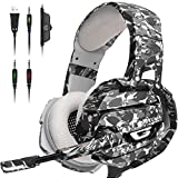 ONIKUMA Gaming Headset PS4 Headset with 7.1 Surround Sound, Xbox One Headset with Noise Canceling Mic & LED Light,Memory Earmuffs for PS4, MAC, PC,PS2,Nintendo 64,Xbox One(Adapter Not Included)