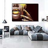 Lienzo Arte de la pared Cara de mujer negra con cartel líquido dorado Arte...