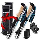 Foldable Hiking & Trekking Poles, 2 Lightweight Collapsible Walking Sticks, Adjustable Quick Lock Folding Poles with Backpacking Essentials Accessories Gift for Men and Women (115-135cm)