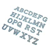 KUIDAMOS Parches de Diamantes de Imitación Azules A-Z 26 Letras Inglesas DIY Apliques de Ropa Parches de Ropa Pegatinas Decoración