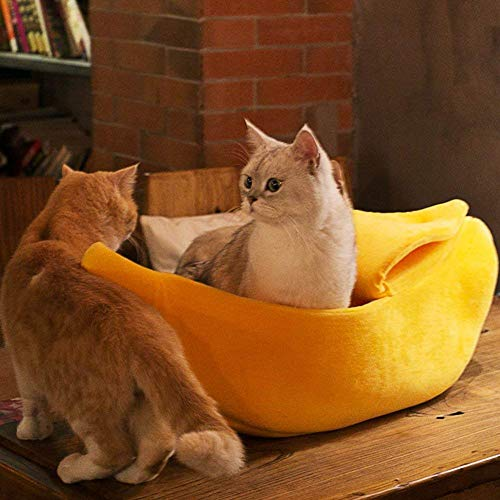 · Petgrow · Cute Banana Cat Bed House Large Size , Pet Bed Soft Warm Cat Cuddle Bed, Lovely Pet Supplies for Cats Kittens Rabbit Small Dogs Bed,Yellow