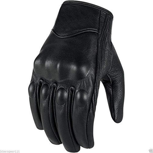 Bikers Gear - Guanti Corto Harley Cruiser in pelle nera con rivestimento termico, Nero, L