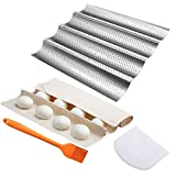 Perforated Baguette Pan , for French Bread Baking 4 Wave Loaves Loaf Bake Mold Toast Cooking Bakers Molding 4 Gutter Oven Toaster Pan Cloche Waves Silver Steel Tray
