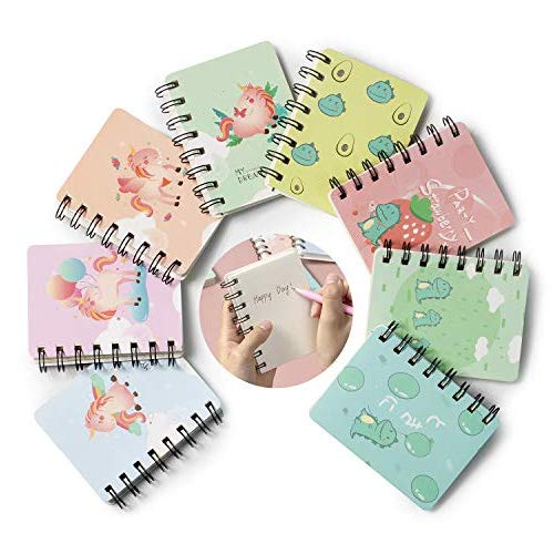 Notizbuch Klein, Comius Sharp 8 PCS Mini Notizbuch Kinder Klein Notizblöcke, Tragbar Klein Spirale Notebook mit Cute Cartoon Muster Mini Tagebuch Notizblock (Dinosaur Unicorn)