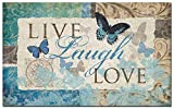 Welcome Door Mats Indoor Entrance Rug Mat Live Laugh Love Butterfly Kitchen Floor Bathroom Carpets Home Decor Absorbent Bath Non Slip Doormats 18 x 30 inch