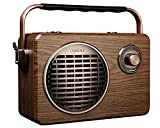 LuguLake Handheld Multi-Function Bluetooth Speaker PA System with Power Bass, FM Radio, Mic Input, Karaoke, USB/TF Readers, TWS, Remote Control and High Battery Capacity Boombox-Vintage Retro Style