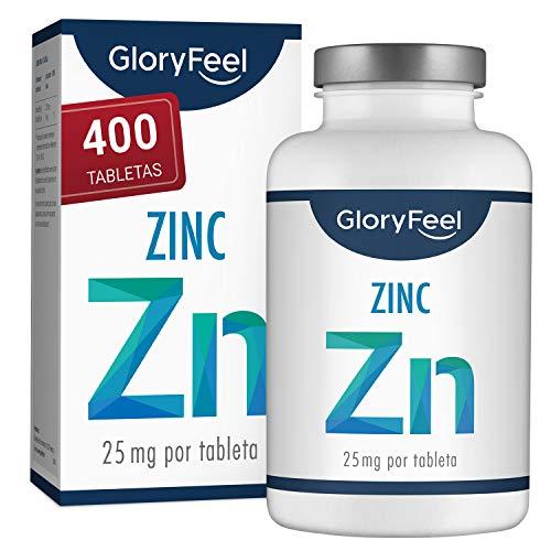 Zinc 25mg 400 Tabletas - Alta dosificación y vegano - 25 mg de Zinc...