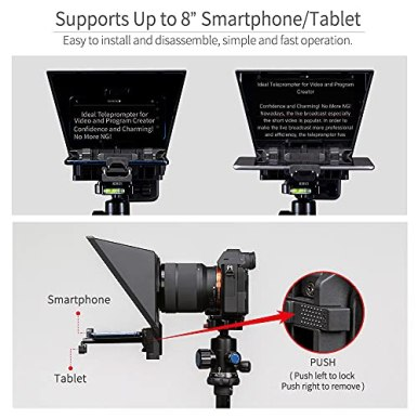 FEELWORLD-TP2A-8-Portable-Teleprompter-for-Up-to-8-Smartphone-Tablet-Prompter-Support-Phone-DSLR-Camera-Video-Recording-for-Live-Streaming-Interview-Speech-with-Lens-Adapter-Rings-APP-Remote-Control