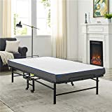 Vibe Premium Folding Cot with 4-Inch Cool Gel Memory Foam Mattress - Perfect Guest Bed Featuring a Super Strong Frame, Cot Size