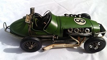 FandG Supplies Lovely large (31cm) vintage retro tin Brooklands Racer metal racing car ornaments- available in two colours - great gift idea for any shelf or desk! (Green)