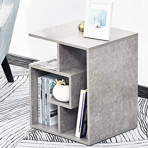 BAKAJI Libreria Bassa Scaffale 4 Ripiani in Legno MDF Tavolino Caff Laterale Divano Design Moderno Arredamento per Soggiorno Salotto Casa o Ufficio Dimensione 45 x 40 x 55 cm (Grigio)