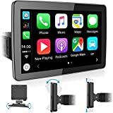 Single Din Bluetooth Car Stereo: 9 Inch Floating IPS Touchscreen Car Radio with Carplay | Phone Mirroring | Backup Camera | FM/AM Radio | USB/SD/AUX-in | Fast Charging