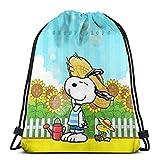 wusond Classic Drawstring Bag-Sunshine Snoopy Gym Mochila Bolsos de Hombro Bolsa de Almacenamiento Deportiva para Hombres y Mujeres