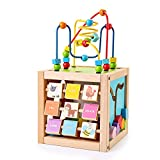 SainSmart Jr. Kids Wooden Activity Cube with Bead Maze 5-in-1 Shape Sorter and Discover Baby Play Center Educational Toys for 1+ Year Old Toddlers