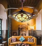 42 Inch Panda Lighting Tiffany Style Ceiling Fan with Light Retractable Blades LED Chandelier Fan, 3 Color 3 Speed Classic Ceiling Fans with Remote Indoor Lighting Fixture for Living Room