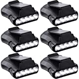 6 Pieces Head Lamps Hard Hat Accessories 5 LED Rotatable Cap Hat Light Clip on Flashlight Lights Clip on Cap Lights for Hunting Camping Fishing Black (Black)