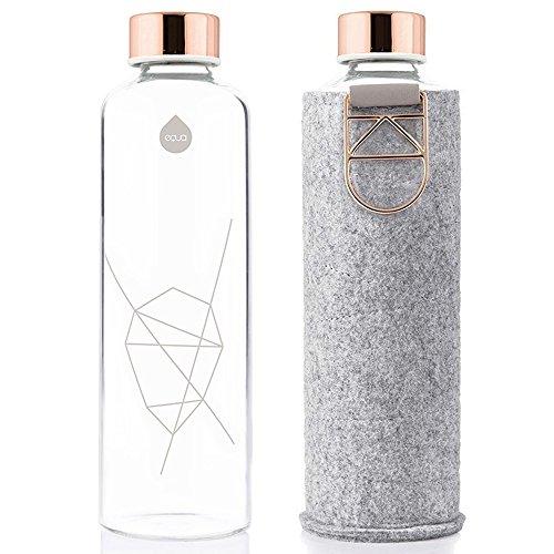 EQUA Glasflasche mit Filzhülle Mismatch Rose Gold 750 ml - Trinkflasche aus Glas mit Schutzhülle 0,75 l - Sportflasche mit Cover - Designer Trinkflasche für unterwegs
