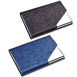 CKANDAY 2 Pack porte carte de visite en similicuir de luxe et étui en acier inoxydable, poche de protection avec fermeture magnétique et métal pour carte d'identité pour homme et femme, Bleu/noir