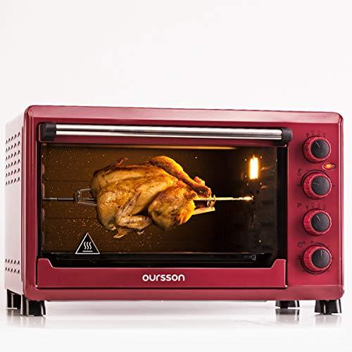 Oursson Mini-Backofen 42 Liter, 4 Jahre Garantie, 12 kochende Kombinationen, Selbstreinigungs-Funktion, 2000 Watt, Dunkelrot, MO4225/DC
