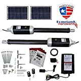 18 Ft. Solar Powered Automatic Dual Swing Gate Openers (USA Based Seller)18 Feet or 1700+ Lbs. Combined gate Capacity ETL Listed IP56 Waterproof Dual (2 Remotes) Double Leaf by Homeland Hardware