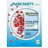 Garnier SkinActive, Maschera in tessuto super-idratante ed energizzante Hydra Bomb, Per pelli disidratate, Melograno, Confezione da 5