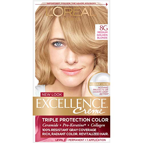 L'Oreal Paris Excellence Creme Permanent Hair Color, 8G Medium Golden Blonde, 100% Gray Coverage Hair Dye, Pack of 1