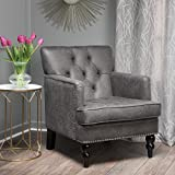 Christopher Knight Home Herres Slate Grey Club, Fabric Chair with Studded Nailhead Accents