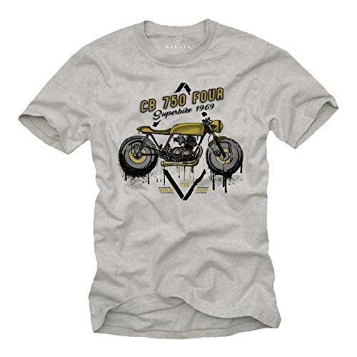 Camisetas Motorcycles Vintage - T-Shirt Moto CB 750 - Ropa Cafe Racer Gris M